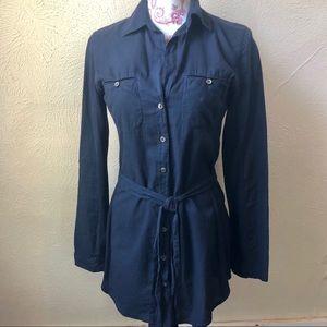James Perse Button Down Tie Waist Shirt 2 (M) Navy